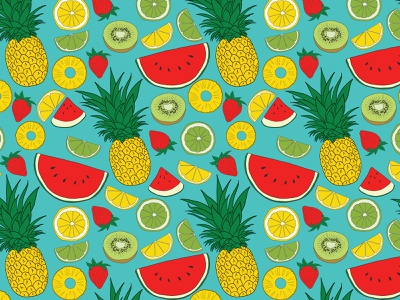 Summer Fruit Seamless Pattern vectorart hand drawn pattern seamless pattern blue mellon watermellon kiwi lemon lime fruit summer strawberry pineapple