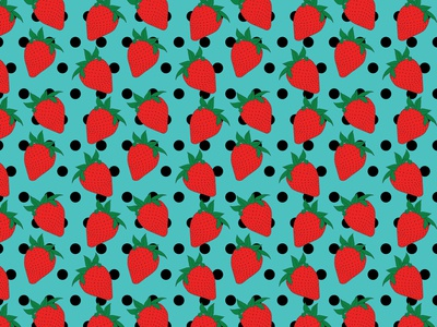Strawberries and Polka Dots Seamless Pattern