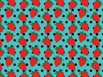 Strawberries and Polka Dots Seamless Pattern