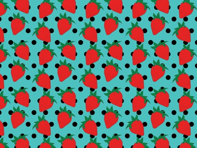 Strawberries and Polka Dots Seamless Pattern illustration apple pencil procreate sweet yummy strawberries polka dot hand drawn pattern seamless pattern blue fruit summer strawberry