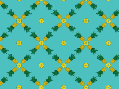 Pineapple Seamless Pattern vector art adobe illustrator illustration apple pencil procreate sweet teal paradise island fruit tropical fruit pineapple slice hand drawn pattern seamless pattern blue fruit summer pineapple