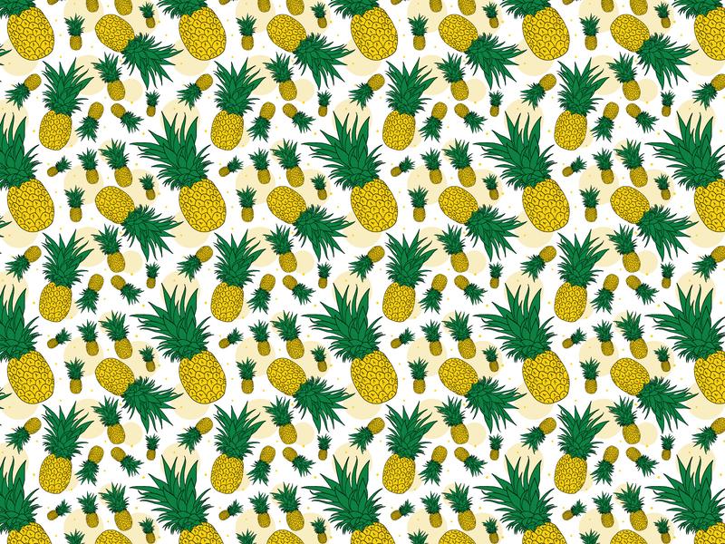 Dribble 2019smfr005 apple pencil procreate illustration vectorart adobe illustrator sweet teal paradise island fruit tropical fruit pineapple slice hand drawn pattern seamless pattern blue fruit summer pineapple