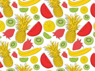 Summer Fruit Seamless Pattern abstract hand drawn pattern seamless pattern melon watermelon kiwi lemon lime fruit summer strawberry pineapple