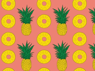 Pineapple and Slices Seamless Pattern