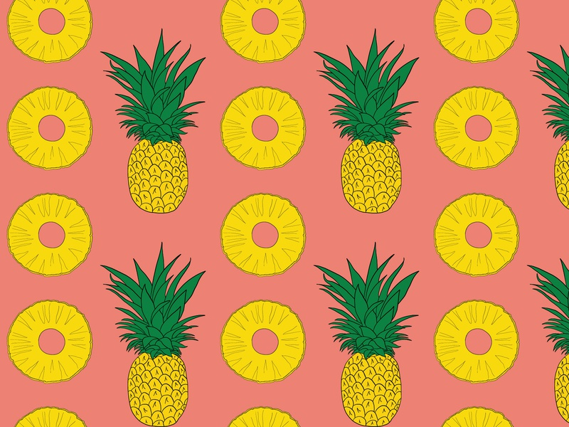 Pineapple and Slices Seamless Pattern sweet yellow paradise island fruit tropical fruit pineapple slice hand drawn pattern seamless pattern pink fruit summer pineapple