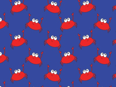 Cute Crabs on Blue red repeat vector hand drawn texture bright girl boy cute kawaii sunglasses sand castle sand dollar stars crab unique seamless bold summer beach