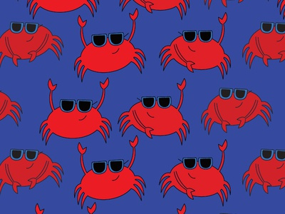 Cool Crabs red repeat vector hand drawn texture bright girl boy cute kawaii sunglasses sand castle sand dollar stars crab unique seamless bold summer beach