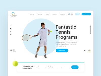 CF Tennis clean circle rocket sports uae dubai ball redesign ux ui website