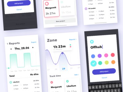 Zone - iOS app time tracking chart mobile app ios redesign
