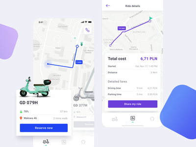Scooter sharing clean ui mobile rental app ios rent sharing scooter