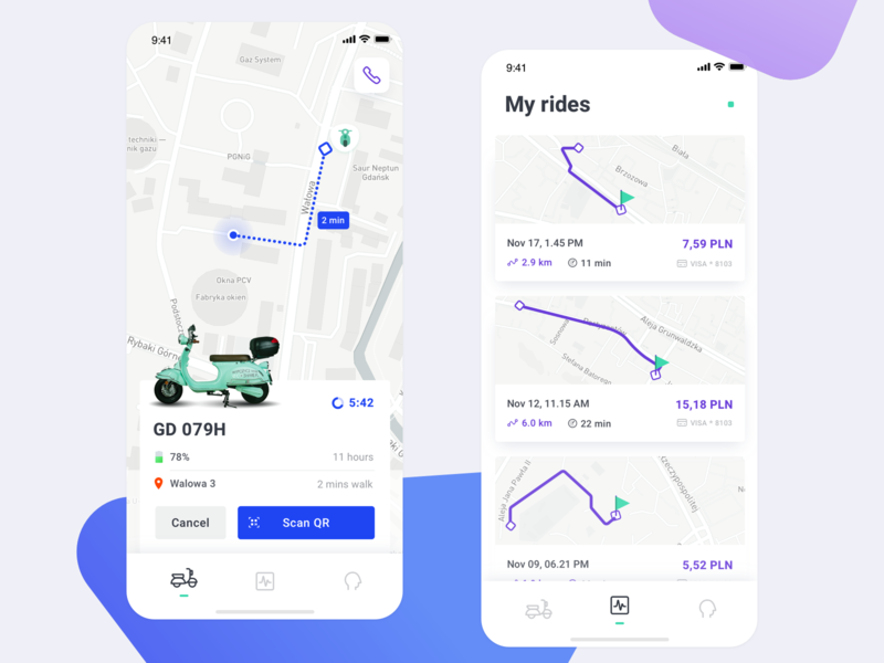 Scooter sharing ui sharing scooter rental app rent mobile ios clean
