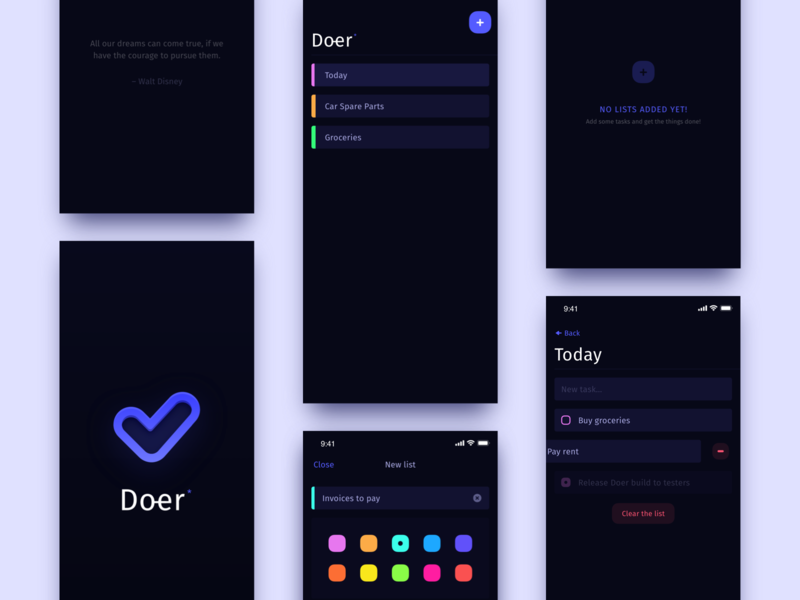 Doer – simple to-do app creo native design application clean mobile iphone ios ui app