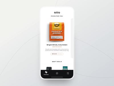 Otto clean application ui app ios mobile light minimal coffee otto detail view animation motion design behance case study