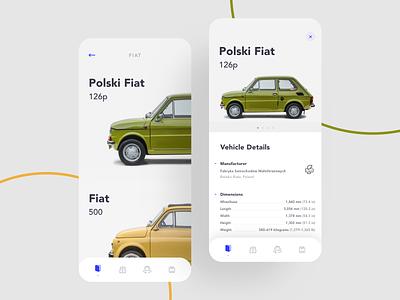 Polski Fiat 126p oldtimer car native application clean mobile ios iphone ui app
