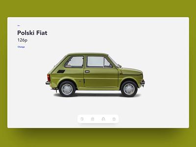 126 vs 500 interaction animation web oldtimer car application clean ui app