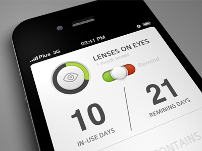 Lenses on eyes app toggle switch details lenses