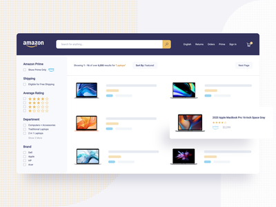 Amazon Search Results results sort filter sorting redesign concept ecommerce shop ecommerce design search results search bar ecommerce concept design redesign amazon clean yonke