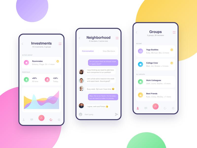 Otium Mobile App Exploration clean finance app finance bright colors mobile app design mobile design green yellow pink purple colorful mobile ui mobile app