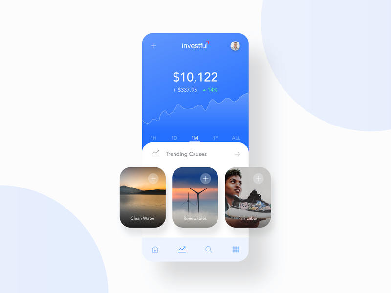 Investful App Screen Exploration minimal app design labor water energy graph investment invest mobile app design mobile design mobile ui blue finance mobile app clean