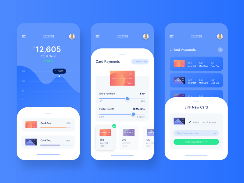 OOTR Screen Exploration credit card blue financial app graph chart app design mobile design clean mobile ui mobile app design mobile app finance