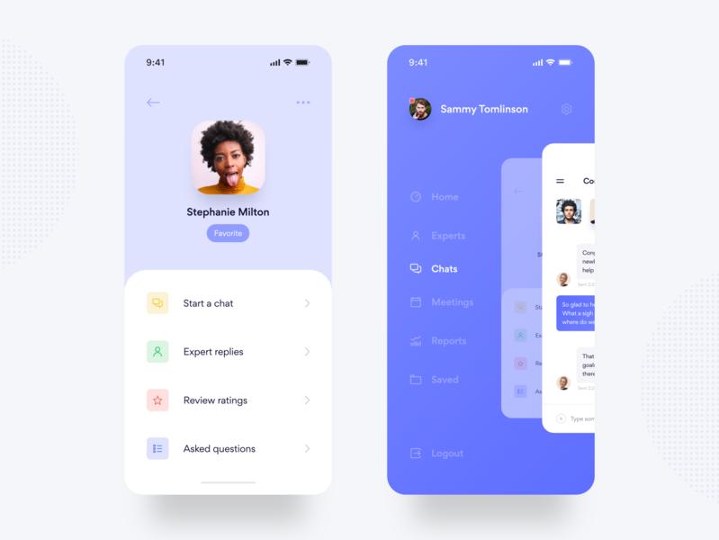 ANSWRS Mobile App Screen Exploration yonke clean mobile ui finance mobile app chat profile menu purple