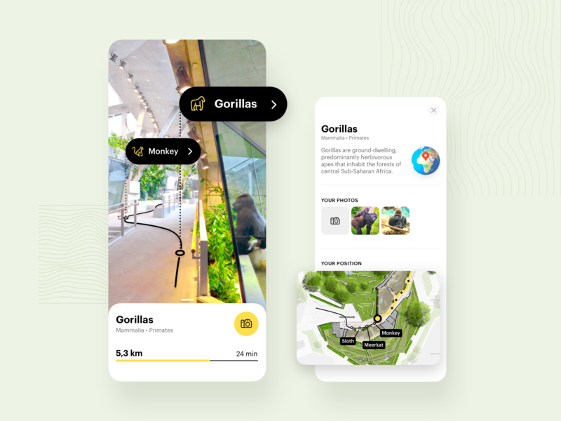 Augmented reality in ZOO augmented reality augmented ar progress animal zoo navigation map iphone concept mobile design ux app ui