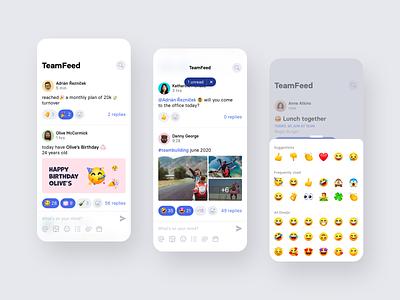 TeamFeed by Teambeo employee emojis company newsfeed social socialmedia teamwork team iphone concept mobile design app ux ui