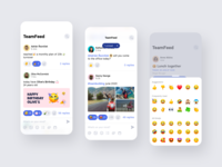 TeamFeed by Teambeo employee emojis company newsfeed social socialmedia teamwork team iphone concept mobile design app ux ui