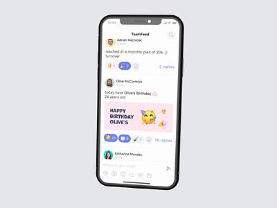 TeamFeed by Teambeo teams company employee newsfeed socialmedia protopie prototype animation iphone ae gif concept mobile design app ux ui