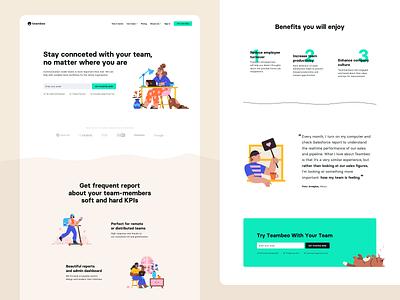 Teambeo - Team eXperience platform homepage benefits testimonial try landing page landing webdesign vector branding illustration design ux ui