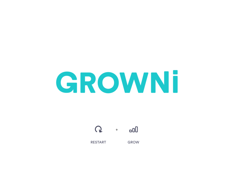 GROWNi - Logo created g letter symbol restart grow visual identity brand icon typography vector branding logo