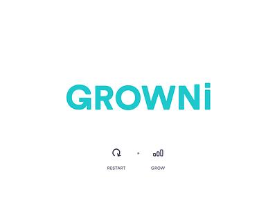 GROWNi - Logo created g letter symbol restart grow visual identity brand icon typography vector branding logo