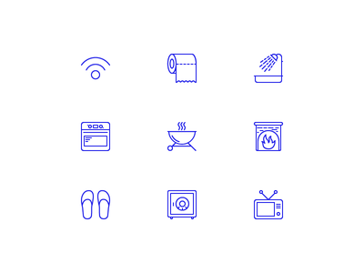 Accommodation icons slippers safe fireplace stove grill television tv shower toilet wifi icons accommodation