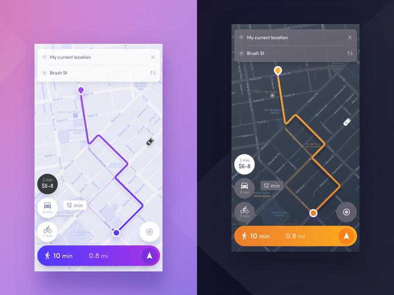 Navigation app - Night mode mode night ios mobile ux ui app concept maps map navigation
