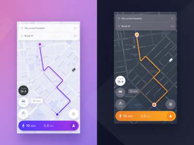 Navigation app - Night mode mode night ios mobile ux ui app concept maps map navigation
