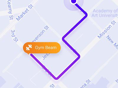 Navigation for active people map gym run concept ux ui navigate people active sport health navigation