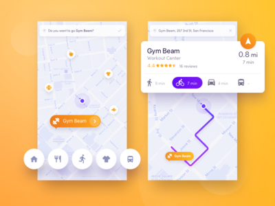 Navigation for active people map gym run concept ux ui navigate people active sport health navigation