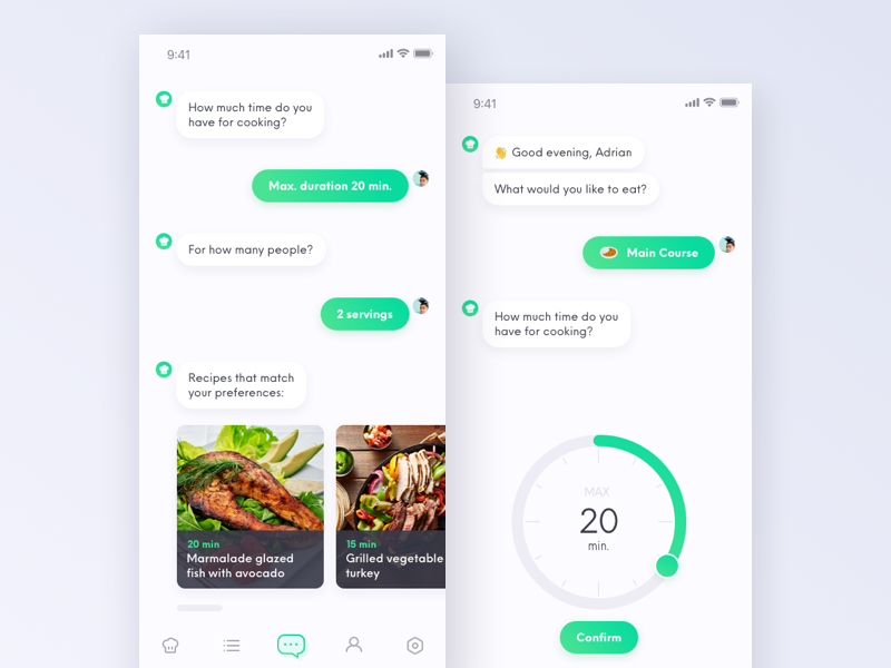 Recipe app chatbot recipe food iphone x interaction mobile ui ux ai bot ai chat bot