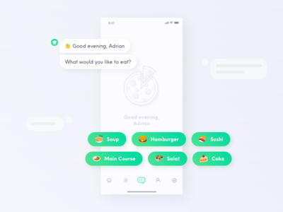 Chatbot - Find recipes iphone ai app mobile ux ui recipe bot chat bot chatbot