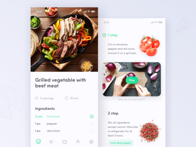 Recipe app - prepare food interaction recipes food prepare recipe mobile deisgn concept ux ui bot chatbot