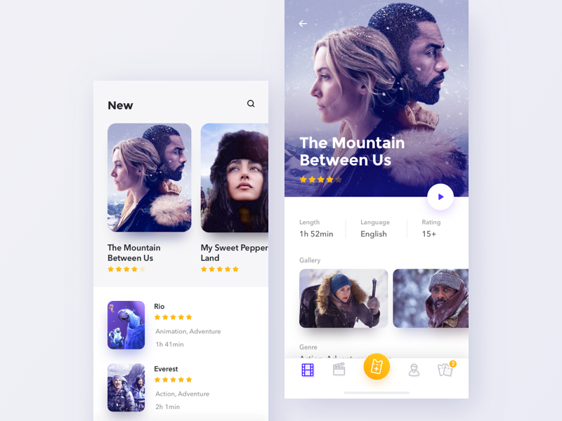 Cinema app x iphone app mobile design concept movie cinema ux ui