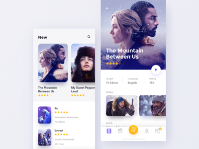 Cinema app x iphone app mobile design concept movie cinema ux ui