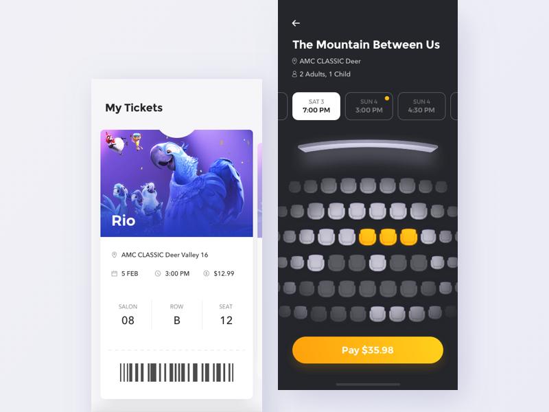 Cinema app - Choose seats order app design wallet tickets cinema movie iphonex x iphone ux ui
