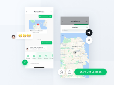 Wechat redesign chat chat share share location wechat map design mobile concept app ux ui