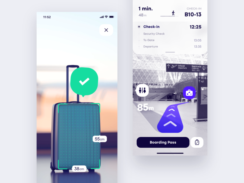 Improved airport experience through AR (part 3) navigation measure camera inovative passenger airline airport augmented reality augmented vr ar luggage baggage design mobile concept app ux ui