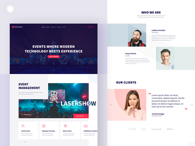 Event Agency Website Design elements event agency about us icons video testimonials hero banner web landing page design ux ui