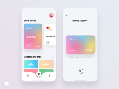 Bank and customer cards design customer loyalty card loyalty pay ios banking app bank app bank cards ui cards iphone mobile concept design app ux ui
