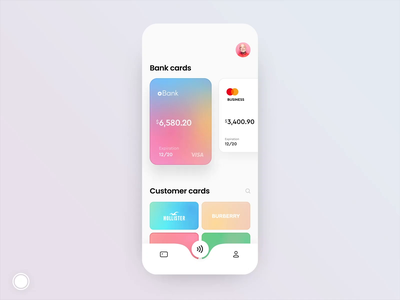 Customer cards animation iphone x motion design after effects customers debit card banking app bank app bank card loyalty card cards design interaction animation ae gif mobile concept design app ux ui