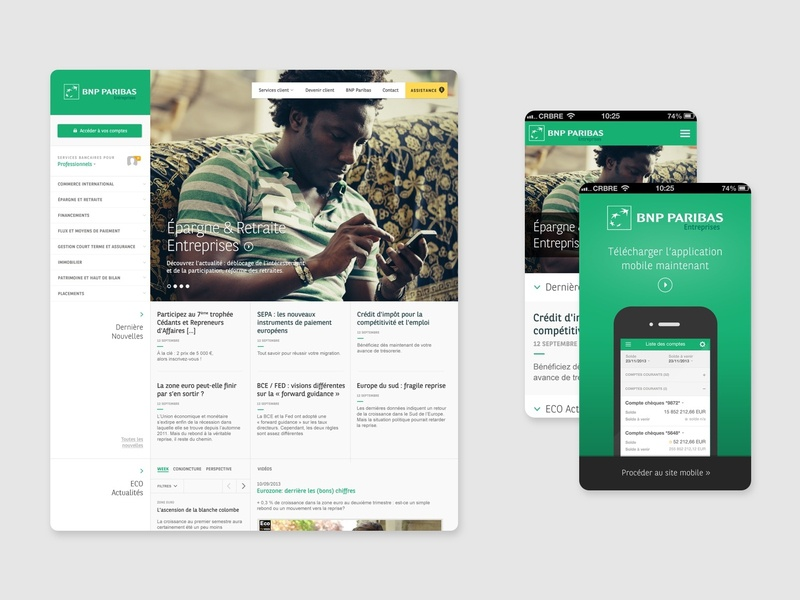 Client work - BNP Paribas browser editorial mobile responsible web