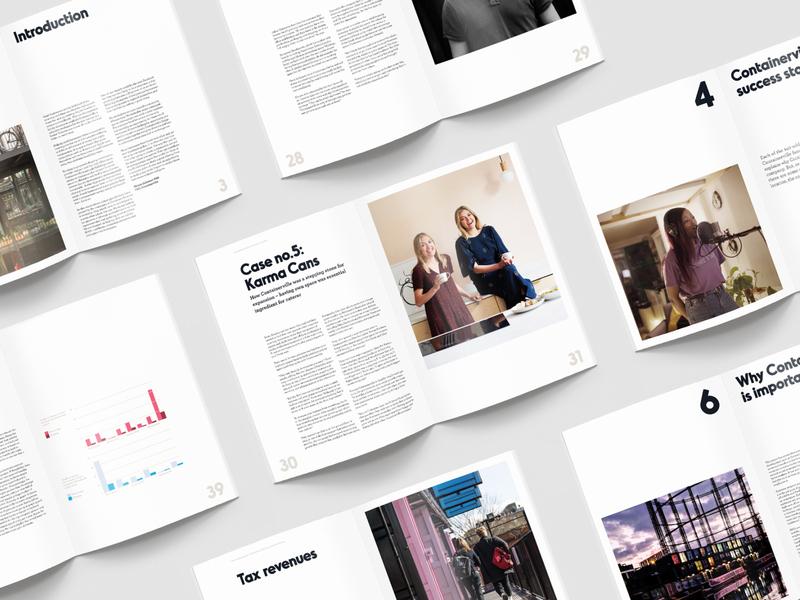 Containerville • Editorial Design report design elegant minimal editorial spread layout editorial design publication print containerville adobe indesign